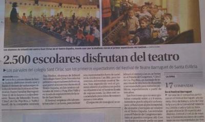 Las funciones escolares del Festival Barruguet en la prensa